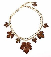 NWT $1250 DOLCE & GABBANA Tigers Eye Leaf Charms Gold Brass Beads Necklace Chain