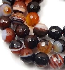"""6mm Brown Sardonyx Agate Faceted Round Beads 15"""""""