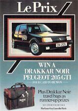 Peugeot 205 GTi Drakkar Noir 1985 UK Market Competition Entry Form Leaflet