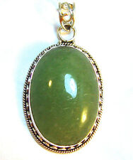 Sterling silver pendant with mossy green phrenite cabuchon