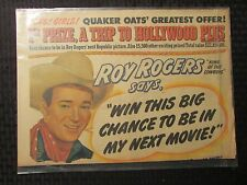 """1949 Quaker Oats ROY ROGERS Full Page Newspaper Ad VG+ 4.5 15.5x22"""" Hollywood"""