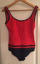 CHANEL Women's One Piece Red And Navy Bathing Suit Size 40  US 8 Made In France