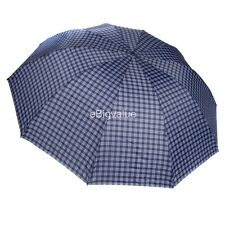Blue Plaid Men's Travel WindProof Compact portable Folding Sun UV Rain Umbrella
