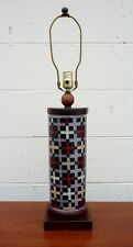 Vintage Mid Century TYNDALE LAMPS CHICAGO Mosaic Ceramic & Wood Table Lamp