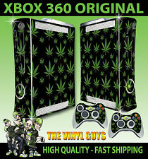 XBOX 360 ORIGINAL CANNABIS LEAF BLACK WEED MARY JANE STICKER SKIN & 2 PAD SKINS
