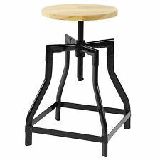 HARTLEYS LOW RETRO SWIVEL SCREW BAR TABLE STOOL WITH HEIGHT ADJUSTABLE WOOD SEAT