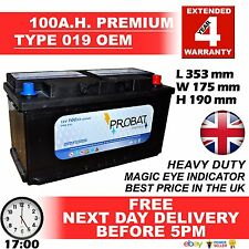 019 Heavy Duty Car/Van Battery - Fits many large diesel 100AH Extra Heavy Duty