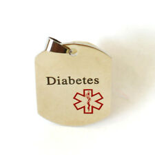Medical ID Tag Stainless Steel Plate Unisex DIABETES