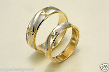 14K Two Tone Gold His & Hers Matching Stars Snowflake Wedding Band Ring Set 5-11