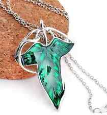 Lord of The Rings Green Leaf Elven Pin Brooch Pendant Chain Necklace Jewelry New