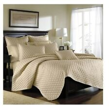 Croscill HARPER IVORY DIAMOND PATTERN Queen Quilt NEW IN POUCH