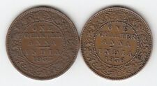 """LOT OF 2"" DIFFERENT YEAR BRITISH INDIA KING GEORGE V QUARTER ANNA COPPER COIN"
