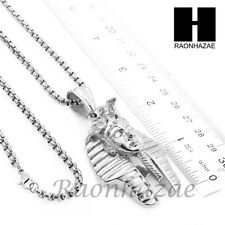 "316L STAINLESS STEEL ICED OUT L KING TUT PHARAOH PENDANT 24"" BOX CHAIN NECKLACE"