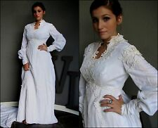 Vtg 60s VELVET white WEDDING bride EMPIRE embroidery VICTORIAN train MAXI dress