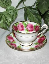 ROYAL ALBERT OLD ENGLISH ROSE FOOTED CUP & SAUCER AVON SHAPE BONE CHINA VINTAGE