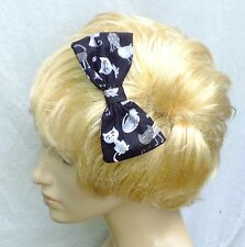 NEW VINTAGE 50s STYLE CUTE BLACK CAT PARTY COTTON 5in HANDMADE HAIR BOW CLIP 212