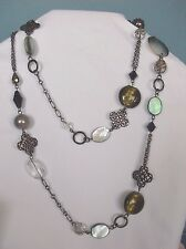 "Beautiful Lia Sophia HERITAGE Necklace, 36-39"", MOP, Crystals"