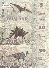 Friesland Set 7 banknotes 2016 - Dinosaurs UNC (private issue)