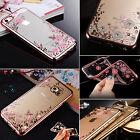 Handy Hülle Diamant Blumen Schutz Case Glitzer Strass Silikon für iPhone Samsung