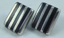 """Sterling Silver 13/16"""" Post Earrings Heavy Black Onyx Mexico Inlay"""
