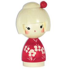 """Japanese Kokeshi Wooden Doll 4.5"""" H Kimono Girl W/TAMA Kanzashi/Made in Japan"""