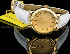 Invicta Ladies Angel Japanese Quartz 18K Gold Plated SS Genuine Leather FF Watch