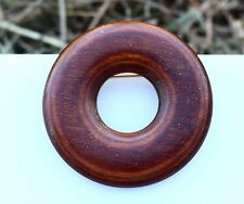 Divinne Red wood round polished carved great quality  BROOCH