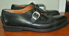 SALVATORE FERRAGAMO BOUTIQUE ITALY MEN'S BLACK LEATHER TIE_BUCKLE SHOES SZ 10D