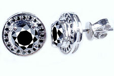5.22ctBLACK COLOR MOISSANITE ROUND .925 SILVER EARRINGS