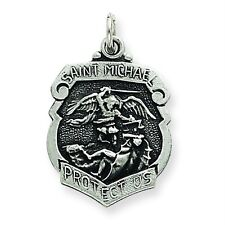 Men's Ladies .925 Sterling Silver Antique St. Michael Solid Pendant For Necklace