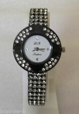 CRYSTAL STUDDED UNIQUE DESIGN WOMEN  WRIST WATCH BLACK 13 - FREE SPARE BATTERY