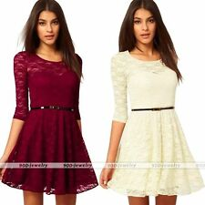 New Women's Vintage Half Sleeve Puls Size Lace Dress With Belt Casual Mini Dress