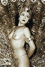 VINTAGE KOREAN ASIAN NUDE WOMAN BURLSEQUE DANCER HEADDRESS EROTIC PEACOCK PHOTO