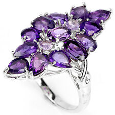 Sterling Silver 925 Large Genuine Natural Amethyst Cluster Ring Size P.5 (US 8)