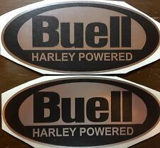 Buell Oval Decals. 8 inch. Matte Black and Chrome. Set of two.