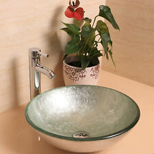 Bathroom Vessel Sink Drain Faucet Glass Vanity Combo Basin Bowl Round Tempered