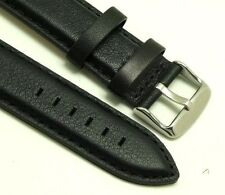 22mm Black Quality Leather Mens Watch Strap Fit All 22mm Lug Size