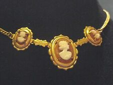 Vintage Pretty Delicate Three Small Faux Cameo Necklace Gold Color Metal Chan