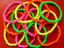 LOT 12 BRACELET FLUO REVENDEUR GROSSISTE PERLES BIJOUX VERT JAUNE ROSE ORANGE