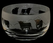 *HIGHLAND GIFT* 12cm SMALL CRYSTAL GLASS BOWL with HIGHLAND CATTLE Frieze