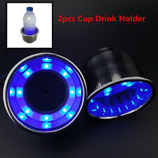 12V Blue 8LED Light Stainless Steel Cup Drink Holder For Marine Boat Car Truck×2