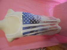 VICTORIA'S SECRET ~ VS ~  LOVE PINK ~TANK TOP ~ USA AMERICAN FLAG SEQUINS GALORE
