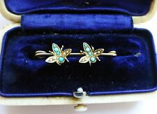 Beautiful Edwardian Double Insect Brooch - Turquoise & Pearl