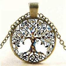 Vintage Punk Tree of Life Glass Cabochon Bronze Chain Pendant Necklace Jewelry