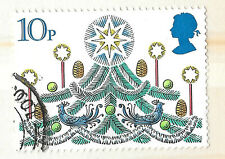 GB Christmas Tree Stamp with star and birds 10p - see scan