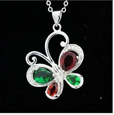 Emerald Garnet Clear CZ 925 Sterling Silver Chain Butterfly Pendant Necklace P12