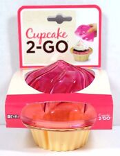 PINK & YELLOW CUPCAKE 2 GO SHAPED PLASTIC STORAGE LUNCH MUFFIN CONTAINER NEW!