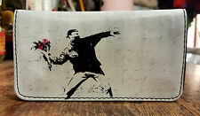 Banksy Protester Flower Tobacco Case Rolling Cigar Pouch Wallet PU Leather Cigar