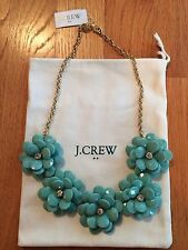 NWT J Crew Crystal Floral Burst Statement Necklace Faded Turquoise $69.50 #A6078