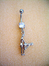 14g Kama Sutra Sex Position Navel Belly Ring Clear CZ Surgical Steel #21